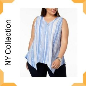 NY Collection Plus Size Striped  Sleeveless Top
